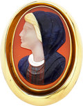 Estate Jewelry:Cameos, Hardstone Cameo, Gold Pendant-Brooch. ...