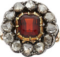 Estate Jewelry:Rings, Antique Garnet, Diamond, Silver-Topped Gold Ring. ...