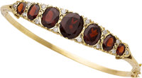 Garnet, Diamond, Gold Bracelet