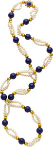 Estate Jewelry:Necklaces, Cultured Pearl, Lapis Lazuli, Diamond, Gold Necklace. ...