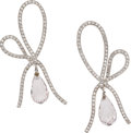 Estate Jewelry:Earrings, Diamond, Morganite, Platinum Earrings, Vera Wang. ...