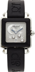 Estate Jewelry:Watches, Chopard Lady's Happy Sport 2 Diamond, Stainless Steel, RubberWristwatch. ...