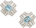 Estate Jewelry:Earrings, Aquamarine, Diamond, White Gold Earrings, Salavetti. ...