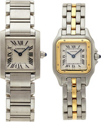 Cartier Lady's Gold, Stainless Steel Panthere and Tank Francaise Wristwatches