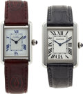 Estate Jewelry:Watches, Cartier Lady's Sterling Silver, Stainless Steel Must de Cartier andTank Wristwatches. ...