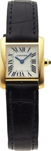 Estate Jewelry:Watches, Cartier Lady's Gold, Leather Tank Wristwatch. ...