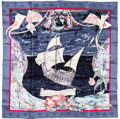 "Luxury Accessories:Accessories, Hermes 90cm Navy Blue ""Christophe Colomb Decouvre l'Amerique,"" byCarl de Parcevaux Silk Scarf. Excellent Condition.3..."