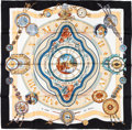 "Luxury Accessories:Accessories, Hermes 90cm Black ""La Ronde des Heures,"" by Loïc Dubigeon Silk Scarf. Pristine Condition. 36"" Width x 36"" Length. ..."