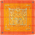 "Luxury Accessories:Accessories, Hermes 90cm Orange ""Tresors Retrouves,"" by Annie Faivre Silk Scarf.Pristine Condition. 36"" Width x 36"" Length. ..."