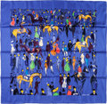 """Luxury Accessories:Accessories, Hermes 90cm Blue """"Paddock, """" by Jean-Louis Clerc Silk Scarf.Excellent to Pristine Condition. 36"""" Width x 36""""Length..."""