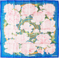 "Luxury Accessories:Accessories, Hermes 90cm Pink & Blue ""Les Pivoines,"" by Christiane VauzellesSilk Scarf. Pristine Condition. 36"" Width x 36""Length..."