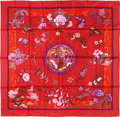 "Luxury Accessories:Accessories, Hermes 90cm Red ""Turandot,"" by Natsuno Hidaka Silk Scarf. Pristine Condition. 36"" Width x 36"" Length. ..."