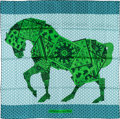 """Luxury Accessories:Accessories, Hermes 90cm Blue & Green """"A Cheval Sur Mon Carre,"""" by Bali Barret Silk Scarf. Pristine Condition. 36"""" Width x 36"""" Leng..."""