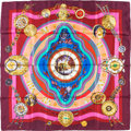 "Luxury Accessories:Accessories, Hermes 90cm Violet ""La Ronde des Heures,"" by Loïc Dubigeon SilkScarf. Pristine Condition. 36"" Width x 36"" Length...."