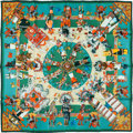 "Luxury Accessories:Accessories, Hermes 90cm Green ""Kachinas,"" by Kermit Oliver Silk Scarf.Pristine Condition. 36"" Width x 36"" Length. ..."