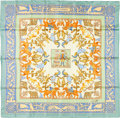 """Luxury Accessories:Accessories, Hermes 90cm Green & Teal """"Early America,"""" by Francoise de laPerriere Silk Scarf. Excellent Condition. 36"""" Width x36""""..."""