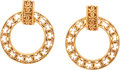"""Luxury Accessories:Accessories, Chanel Gold Logo Hoop Earrings. Very Good Condition. 2""""Width x 2"""" Height. ..."""