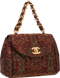 "Chanel Red & Gold Brocade Flap Bag with Gold Hardware Very Good to Excellent Condition 7"" Width"