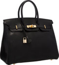 "Luxury Accessories:Bags, Hermes 35cm Black Chevre Leather Birkin Bag with Gold Hardware.Very Good to Excellent Condition. 14"" Width x 10""Heig..."