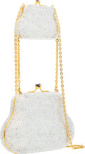 "Luxury Accessories:Bags, Judith Leiber Full Bead Silver Crystal Double Minaudiere EveningBag . Excellent Condition . 7.5"" Width x 3.5"" Height..."