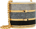 "Luxury Accessories:Bags, Judith Leiber Full Bead Silver, Gray & Black Crystal Train CaseMinaudiere Evening Bag. Very Good Condition . 5""Widt..."