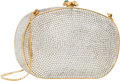 "Luxury Accessories:Bags, Judith Leiber Full Bead Silver Crystal Minaudiere Evening Bag .Very Good Condition . 5.5"" Width x 3"" Height x 1.5""De..."