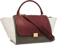 Celine Burgundy Python & Olive Green and Cream Leather Trapeze Bag Very Good to Excellent Condition