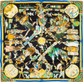 "Luxury Accessories:Accessories, Hermes 90cm Black ""Les Danses des Indiens,"" by Kermit Oliver SilkScarf. Pristine Condition. 36"" Width x 36"" Length..."