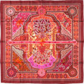 "Luxury Accessories:Accessories, Hermes 90cm Pink ""Aux Portes du Palais,"" by Christine Henry SilkScarf. Pristine Condition. 36"" Width x 36"" Length...."