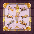 "Luxury Accessories:Accessories, Hermes 90cm Violet ""Jumping,"" by Phillippe Ledoux Silk Scarf.Excellent Condition. 36"" Width x 36"" Length. ..."