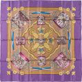 "Luxury Accessories:Accessories, Hermes 90cm Violet & Black ""Les Tambours,"" by Joachim Metz SilkScarf. Pristine Condition. 36"" Width x 36"" Length...."
