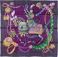 "Luxury Accessories:Accessories, Hermes 90cm Violet & Navy Blue ""Le Timbalier,"" by FrancoiseHeron Silk Scarf. Pristine Condition. 36"" Width x 36""Leng..."
