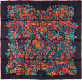 "Luxury Accessories:Accessories, Hermes 90cm Black & Red ""Legende Moghole,"" by Karen Petrossian Silk Scarf. Pristine Condition. 36"" Width x 36"" Length..."