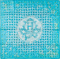 "Luxury Accessories:Accessories, Hermes 90cm Turquoise, Green & White ""Mosaique au 24,"" byBenoit Pierre Emory Silk Scarf. Good to Very Good Condition...."