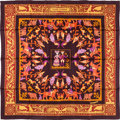 "Luxury Accessories:Accessories, Hermes 90cm Brown & Burgundy ""Early America,"" Francoise de laPerriere Silk Scarf . Excellent Condition . 36"" Width x..."