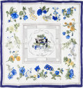 "Luxury Accessories:Accessories, Hermes 90cm Blue & White ""Quai aux Fleurs,"" by Hugo GrygkarSilk Scarf. Excellent Condition. 36"" Width x 36""Length..."