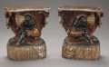 Furniture : Continental, A Pair of Venetian Carved and Polychromed Small Console Tables.Italian. 19th Century. Polychromed wood. 25 x 22 x 11-1/2 in...(Total: 2 Items)