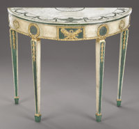 An Italian Neoclassical Style Green and White Painted Console Table  Unknown maker, Italian Early 19th centu