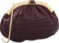 "Luxury Accessories:Bags, Judith Leiber Bordeaux Crocodile Evening Bag. Very GoodCondition. 11"" Width x 7.5"" Height x 1"" Depth. CITEScom..."