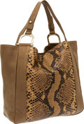 "Luxury Accessories:Bags, Gucci Brown Leather & Python Tote Bag . ExcellentCondition . 17"" Width x 15"" Height x 5"" Depth . CITEScomplia..."