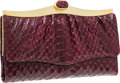 "Luxury Accessories:Accessories, Judith Leiber Burgundy Python Wallet with Gold Hardware. VeryGood to Excellent Condition . 7"" Width x 4"" Height x.5""..."