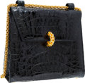 "Luxury Accessories:Bags, Paloma Picasso Black Crocodile Shoulder Bag with Gold Hardware.Very Good to Excellent Condition. 8"" Width x 7""Height..."