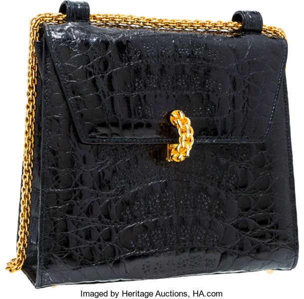 e07b22c4b Very; Luxury Accessories:Bags, Paloma Picasso Black Crocodile Shoulder Bag  with Gold Hardware.