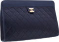 "Luxury Accessories:Bags, Chanel Navy Quilted Lambskin Leather Clutch with Gold Hardware.Very Good Condition . 11.5"" Width x 8"" Height x 2""Dep..."