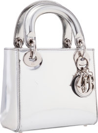 """Christian Dior Metallic Silver Leather Mini Lady Dior Bag Good to Very Good Condition 6.5"""" Width"""