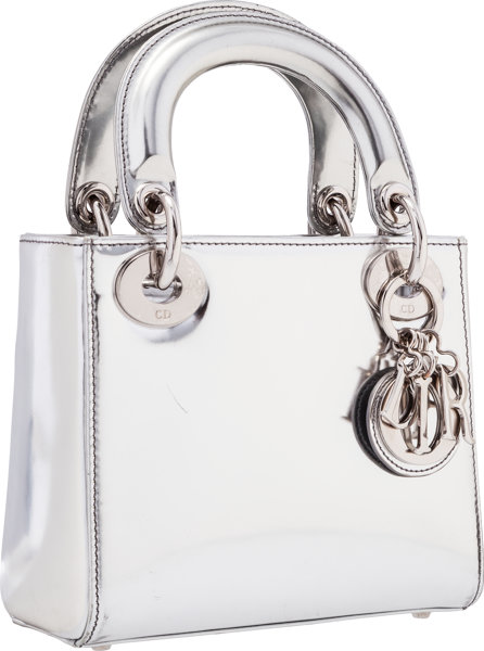 Christian Dior Metallic Silver Leather Mini Lady Dior Bag.  f478fe4eadc6b