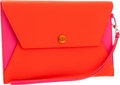 "Luxury Accessories:Bags, Christian Dior Fuchsia & Orange Leather Clutch. Very GoodCondition. 9.5"" Width x 6"" Height x .25"" Depth. ..."