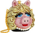 Luxury Accessories:Bags, Kathrine Baumann Limited Edition Full Bead Pink & YellowCrystal Miss Piggy Minaudiere Evening Bag, 29/2500. Very Good to...