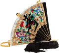 Luxury Accessories:Bags, Kathrine Baumann Limited Edition Full Bead Black, Gold & RedCrystal Fan Minaudiere Evening Bag, 15/500 . ExcellentCondit...
