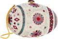 "Luxury Accessories:Bags, Judith Leiber Full Bead Silver & Multicolor Crystal EggMinaudiere Evening Bag. Very Good to Excellent Condition.6"" W..."